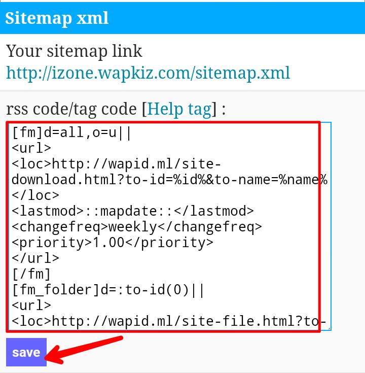 Wapkiz sitemap code