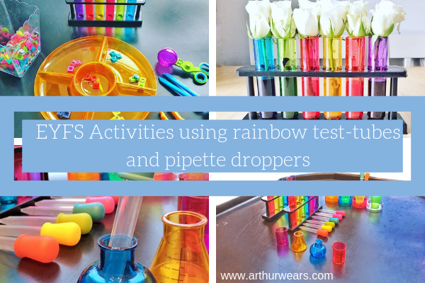 A few child development activity ideas using plastic rainbow test tubes in a stand and pipette droppers...