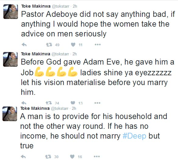 Don't marry a man without income - Toke Makinwa agrees with Pastor Adeboye