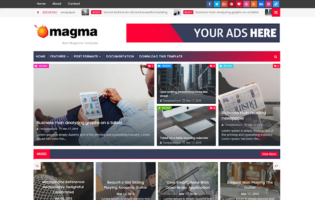 Magma Responsive Magazine News Blogger Template Theme