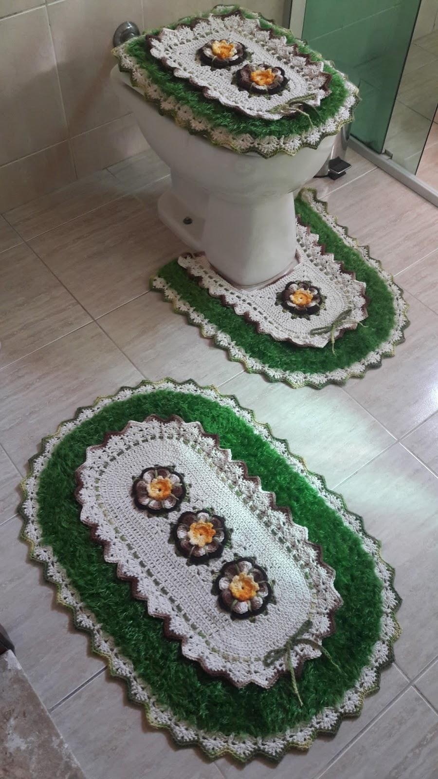 Jogo De Banheiro Marrom E Amarelo : Os croches da adriana jogo de banheiro oval bico duplo