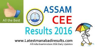 Assam CEE Results 2016,Assam CEE Rank Card 2016,CEE Assam Result 2016