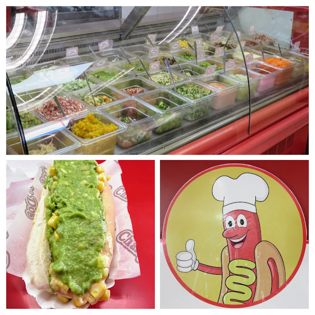 Why visit Santiago: collage of a completo at Charly dog