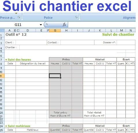 Suivi Chantier Excel   Outils Livres Exercices Et Vidos