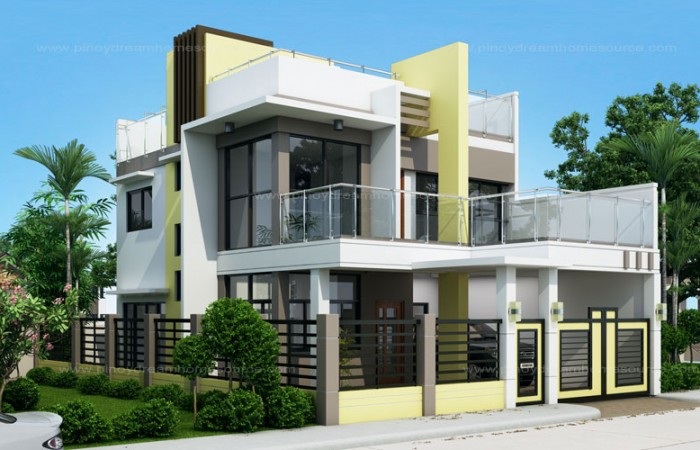 50 images of 15 two storey modern houses with floor plans for 3 storey terrace house design