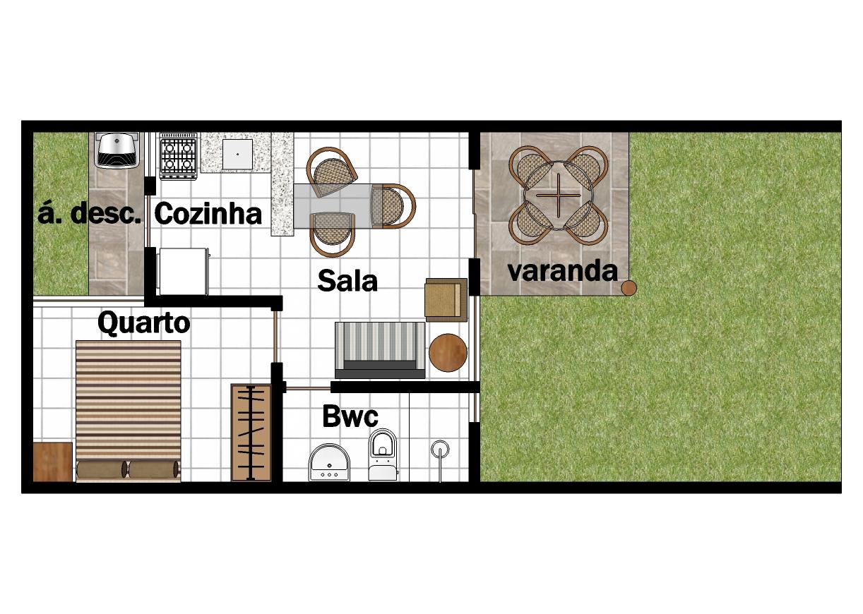Plantas De Casas Com Cozinha Americana E Dois Quartos Planta De