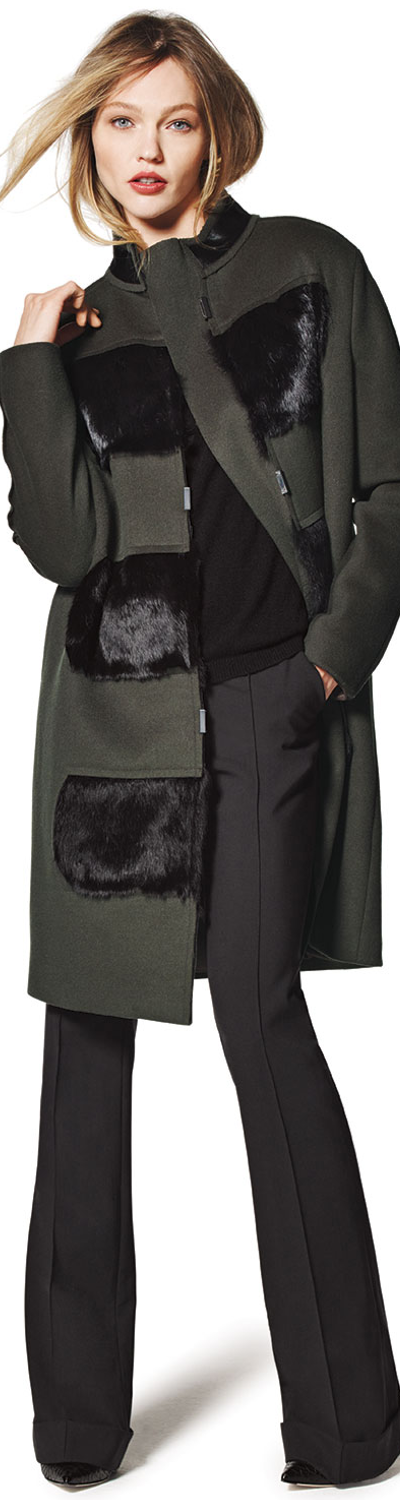 Elie Tahari Hillary Coat with Fur Panels