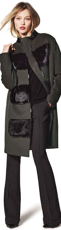 Elie Tahari Hillary Coat with Fur Panels