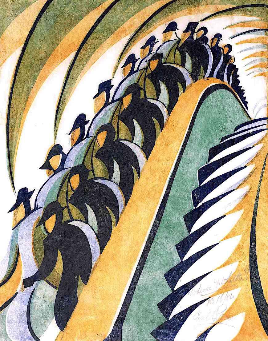 a Cyril Power print, the escalator