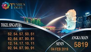 Prediksi Angka Togel Singapura Senin 04 Februari 2019