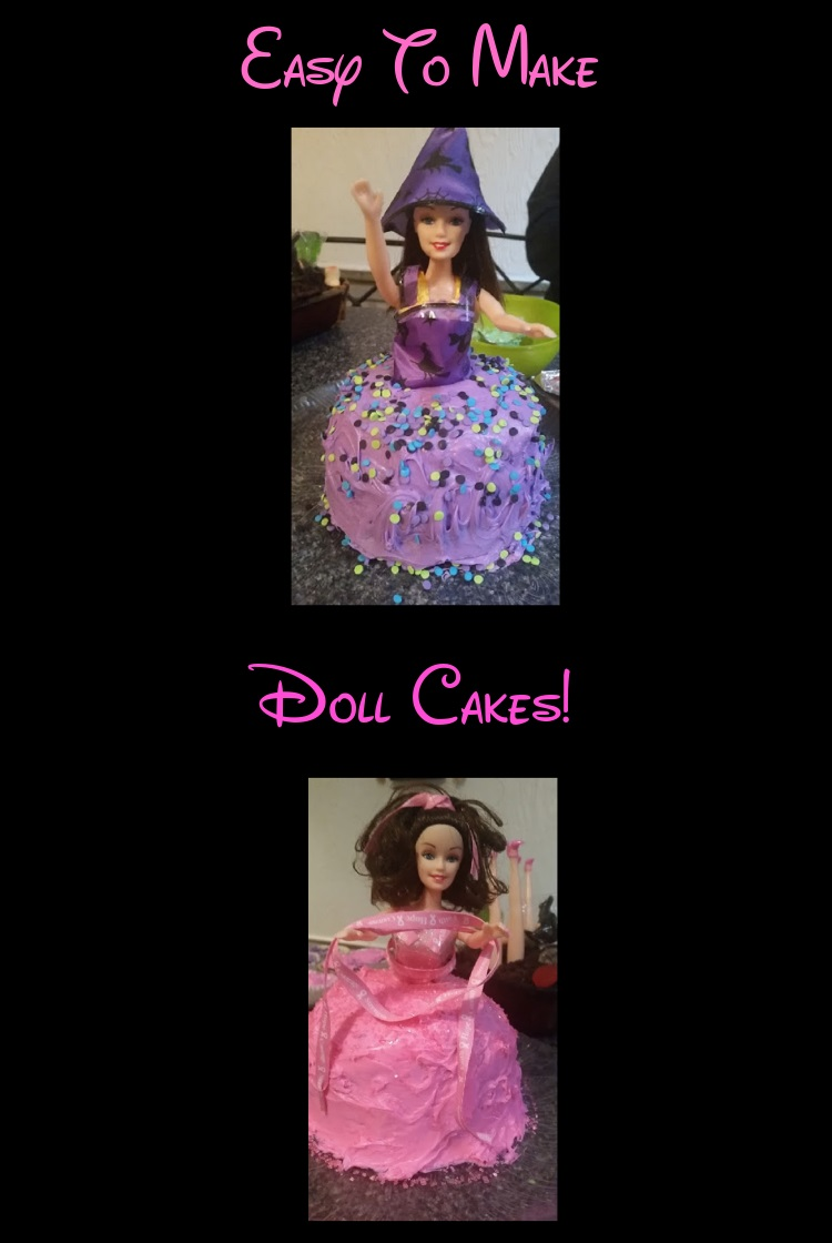 this is a doll cake with the Halloween theme  or the breast cancer awareness pink frosting doll and the other is made purple and black for Halloween as a witch