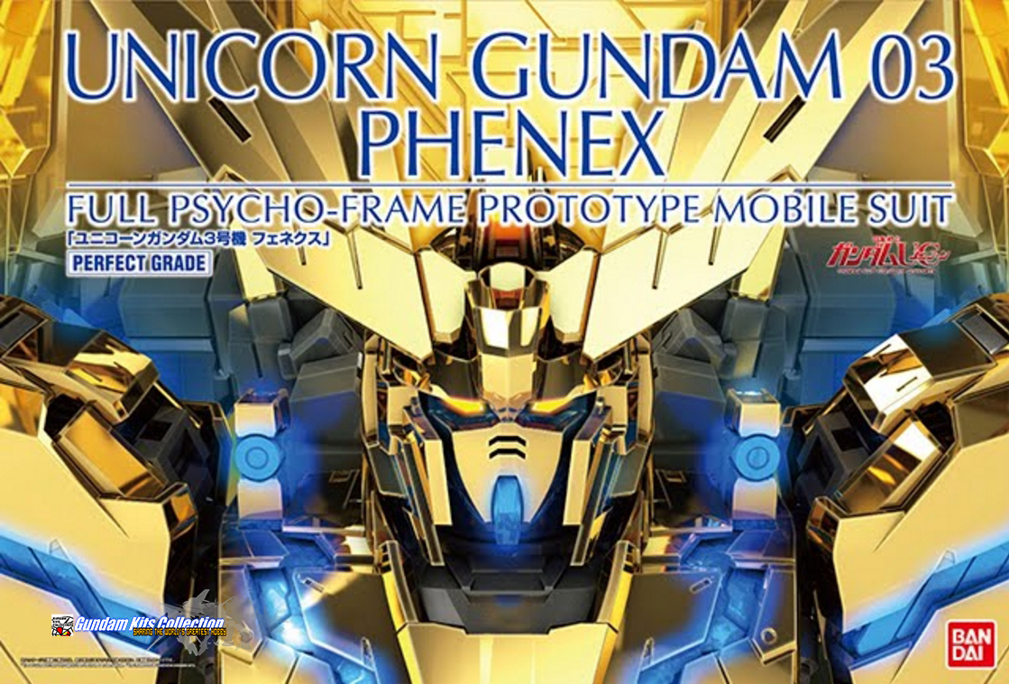 P-Bandai: PG 1/60 Unicorn Gundam 03 Phenex [Gold Plated] - Release Info, Box art and Official Images