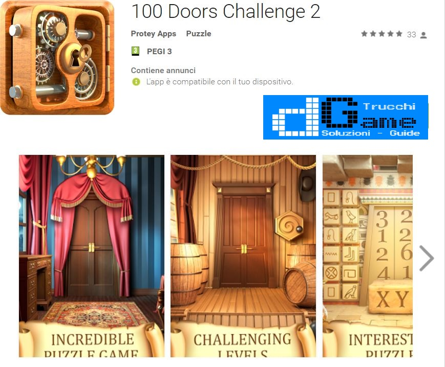 Soluzioni 100 Doors Challenge 2 livello 1 2 3 4 5 6 7 8 9 10 | Trucchi e  Walkthrough level
