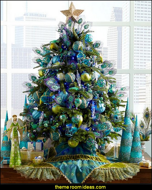 peacock christmas decorating   peacock color Christmas decorating - peacock color decorations - peacock themed Christmas - Peacock Tree Theme - peacock christmas tree decorations - Peacock Decorations - Peacock Tree Theme decorating Christmas Peacock - christmas feathered Peacock Christmas Ornaments - Peacock themed Christmas