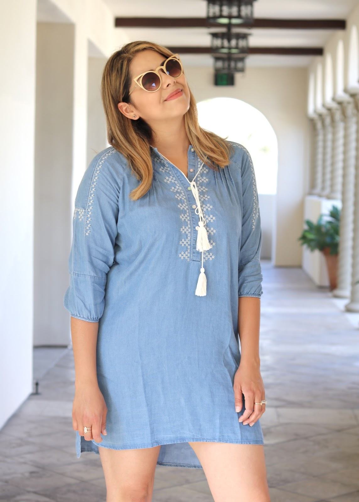 Chicwish blogger, chicwish denim dress, denim embroidered dress, aldo wedges
