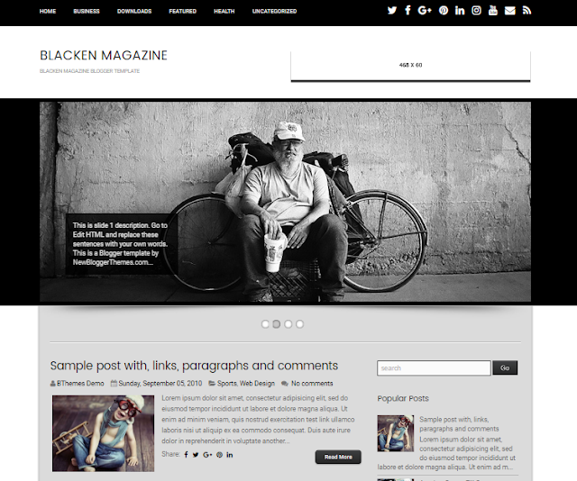 Blacken Magazine Blogger Template