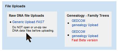 GEDmatch DNA upload