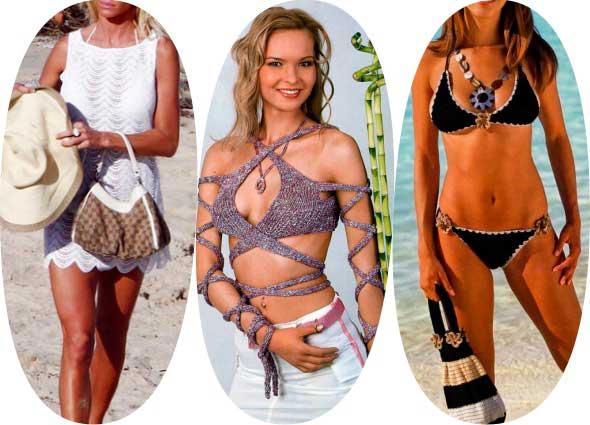 prendas de baño, bikinis, pareos, bañadores, patrones para crochet