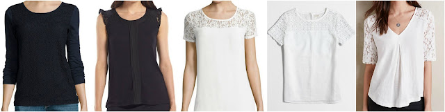 Liz Claiborne 3/4 Sleeve Lace T-Shirt $15 (reg $30) Elle Lace Ruffle Pintuck Top $16 (reg $36) - I love the black and white one too! Heart & Soul Short Sleeve Lace Yolk Top $25 (reg $42) J. Crew Factory Linen Lace T-Shirt $30 (reg $60) Anthropologie Brushed Lace Tee $40 (reg $68)