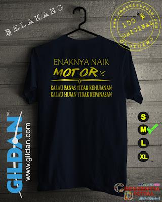 Baju Kaos Distro Enaknya Naik Motor Warna Biru Dongker