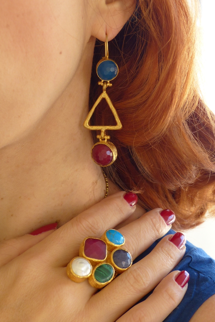 Multi stone earrings and massive ring from Ottoman Hands