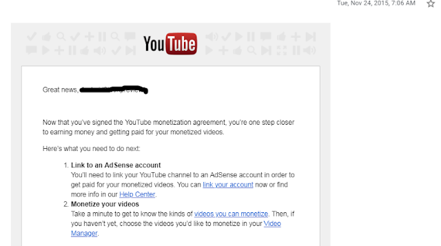 YouTube Adsense Approval Notice