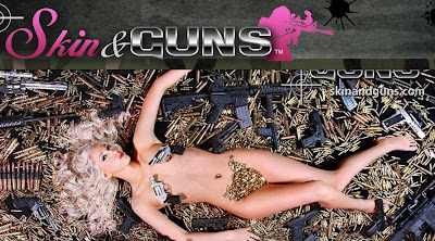 Blonde nude girl with a gun