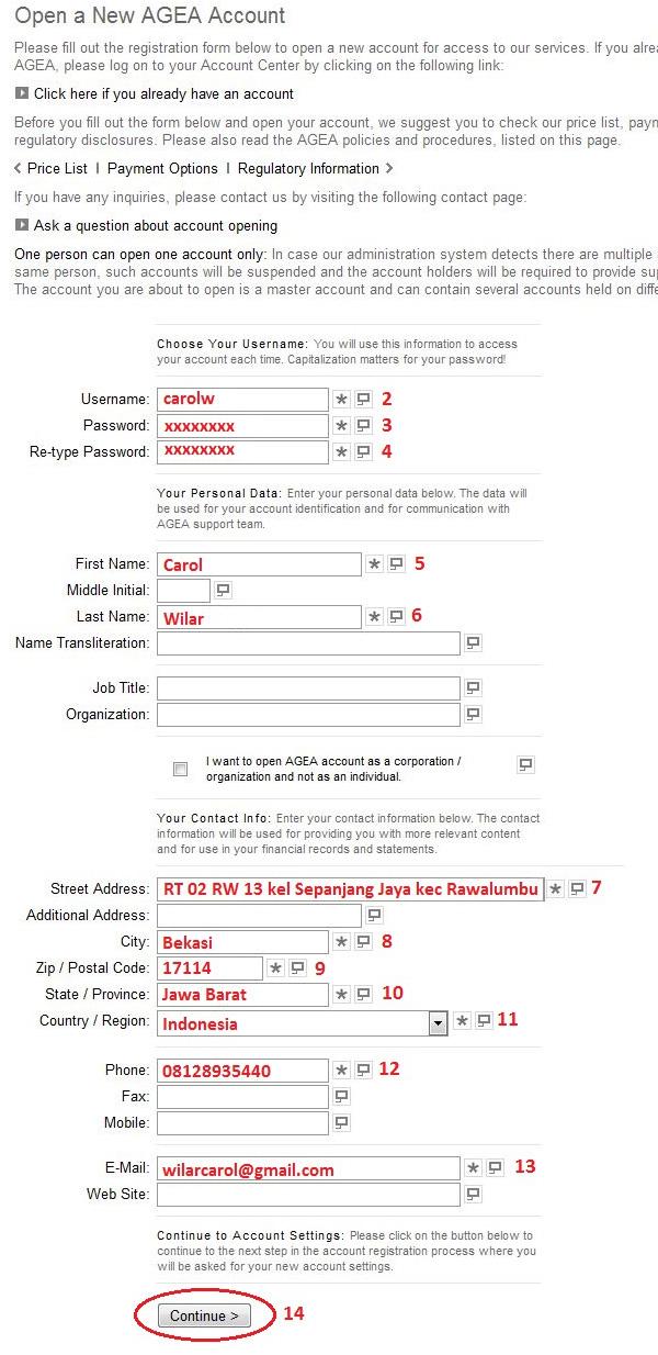 Cara mendaftar di agea forex