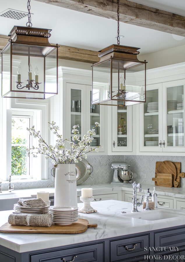 farmhouse kitchen with pendant lantern lights