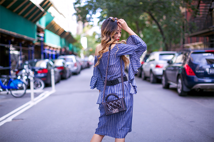 Striped ruffle off the shoulder dress, off shoulder dress, stripe dress, new york street style, NYFW, valentino rock studs flats, quay sunglasses, chanel boy bag, style tip, christian louboutin sale