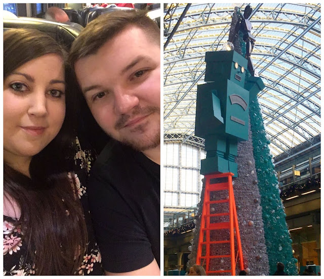 collage - selfie and Tiffany tree at London St Pancras