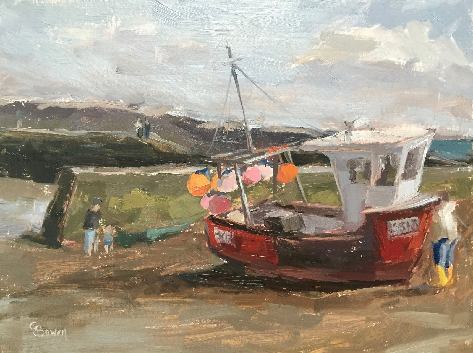 Clare bowen artist 89 39 fishing boat staithes harbour for Fishing boat painting