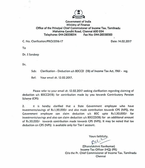 Clarification For Contributory Pension Scheme (CPS / NPS
