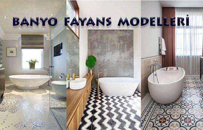 Desenli Banyo Fayans Döşemesi Modelleri