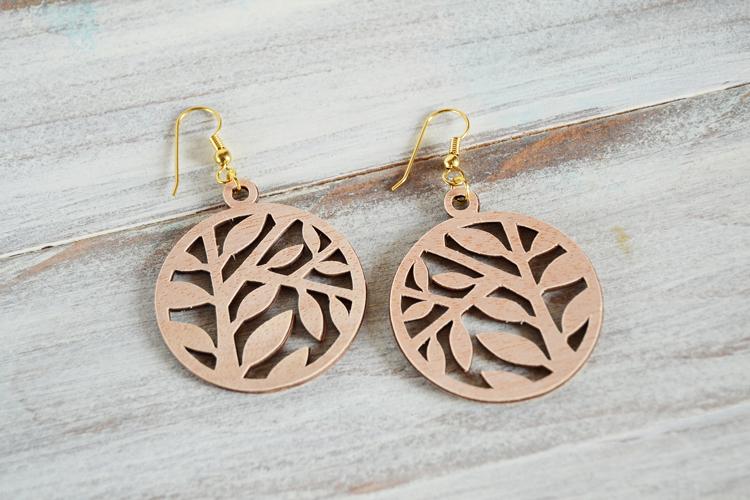 faux lasercut wood earrings