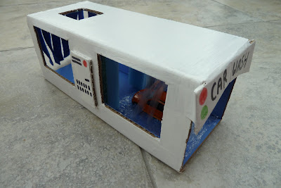 Cardboard car wash made from a box