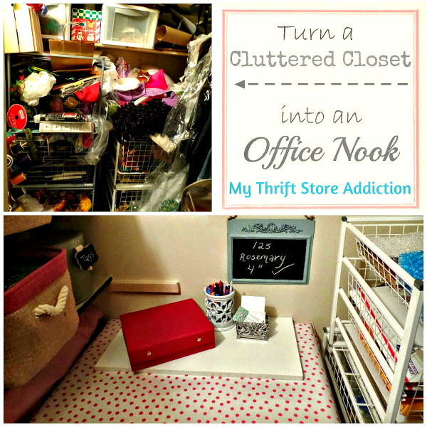 The Thrify Way to Declutter Part 1  mythriftstoreaddiction.blogspot.com Turn a messy closet to office nook