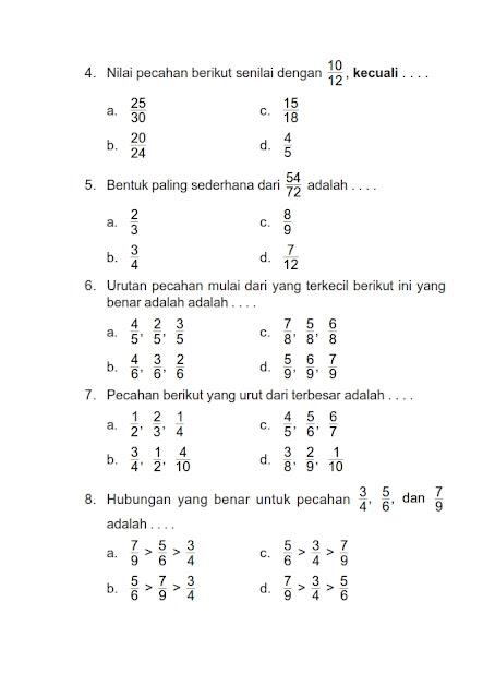 Soal Matematika Kelas 4 Pecahan : matematika, kelas, pecahan, Contoh, Matematika, Kelas, Pecahan, Senilai, Kumpulan, Pelajaran