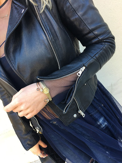 spring outfit, leather jacket for spring, haljina preko farmerki, mesh dress, zara dress over jeans, leather moto jacket, chanel bag, chanel vintage bag, chanel classic maxi, so kate heels, louboutin so kate, spring outfit
