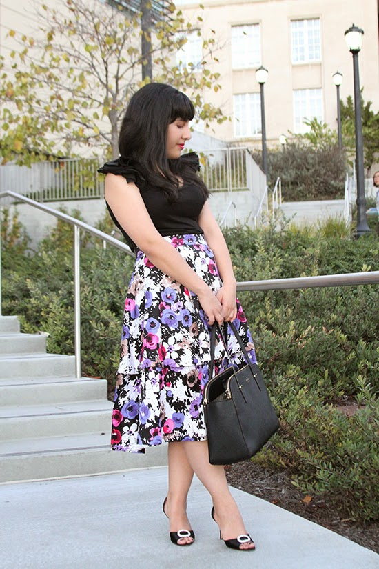 Ladylike Floral Midi Skirt and Ruffle Sleeve Top