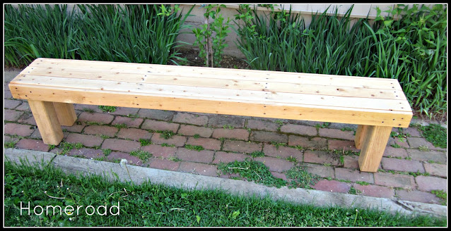 Unfinished long outdoor bench