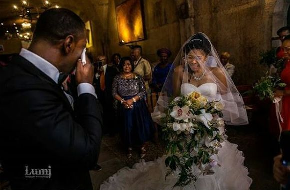 Beautiful Nigerian Couple Melt Hearts As They Shed Tears At Their Wedding