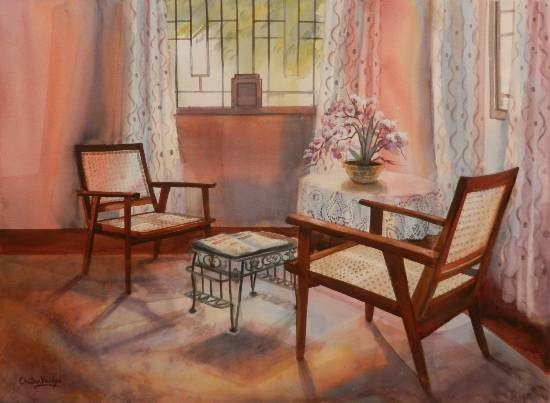 Almost Teatime, painting by Chitra Vaidya (part of her portfolio on www.indiaart.com)
