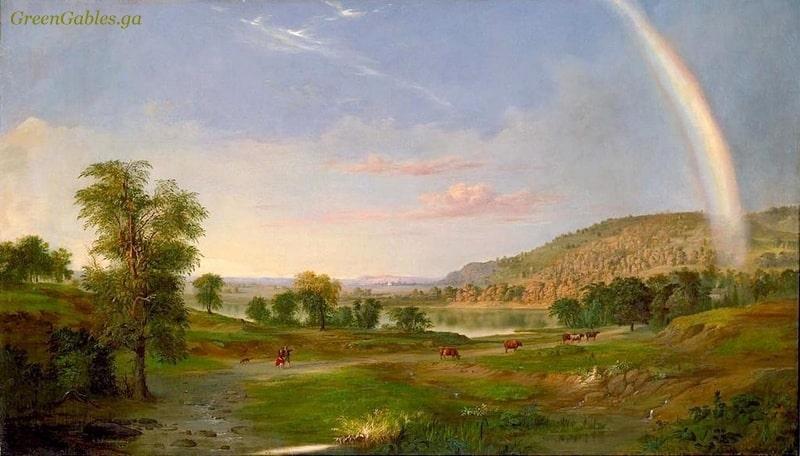 Rainbow and summer meadow