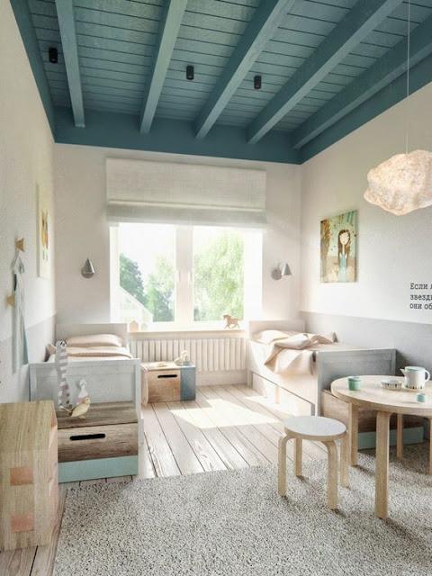 chambre plafond bleu