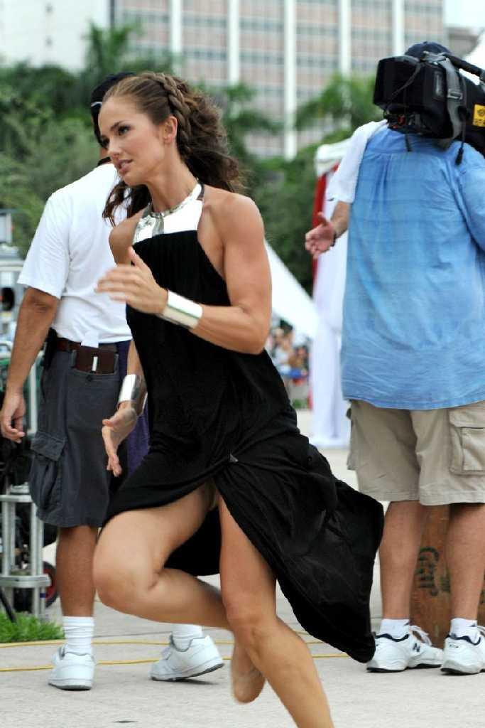 Naturally Bikini: Minka Kelly gets wet and wild Upskirt black panty while shooting on the set of ...