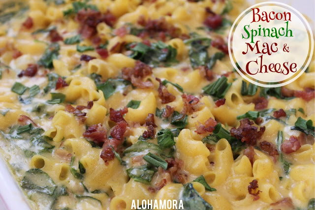 Bacon Spinach Mac and Cheese.  A delicious home comfort food with a fancy and added touch of bacon and spinach. This new recipe for this classic dish makes the kids as well as mom and dad happy.  All  nutritrents in one dish, and it is amazingly delicious!  http://alohamoraopenabook.blogspot.com/ easily gluten free, new classic dish recipe.  Easy, tasty, and perfect weeknight meal b/c it ttakes less than hour.