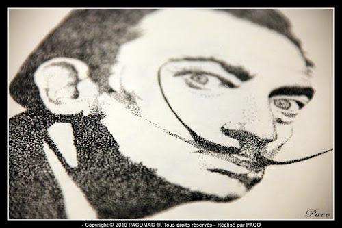 vue détaillé des yeux sur le dessins de Salvador Dali en pointillisme, par Paco illustrateur Graphiste
