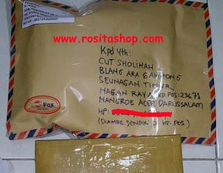 Bukti Kirim Rositashop ke Aceh