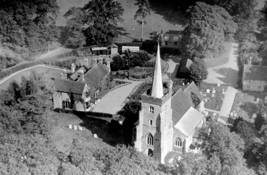 Photograph of an aerial view of St. Mary's Church North Mymms c 1930